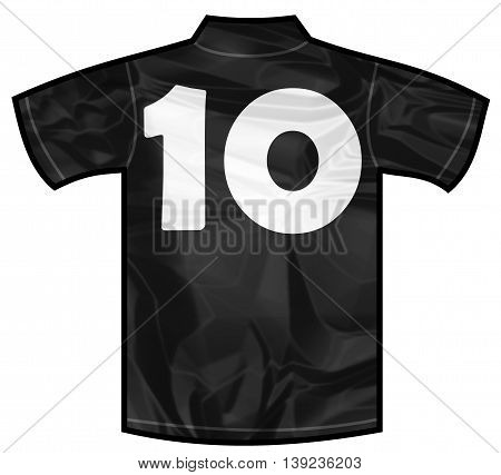 Number 10 ten Black sport shirt as a soccer, hockey, basket, rugby, baseball, volley or football team t-shirt. For the goalkeeper or the referee or New Zeland team