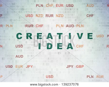 Business concept: Painted green text Creative Idea on Digital Data Paper background with Currency