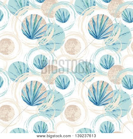 Abstract summer geometric seamless pattern. Circles with fan palm leaf and marble grunge textures. Pastel beach background in retro vintage 80s or 90s. Hand painted summer illustration
