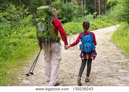 Back view of two hikers holding hands father and daughter with backpacks walking on forest trail. Back view of family on a trekking day in countryside. Concept health lifestyle.