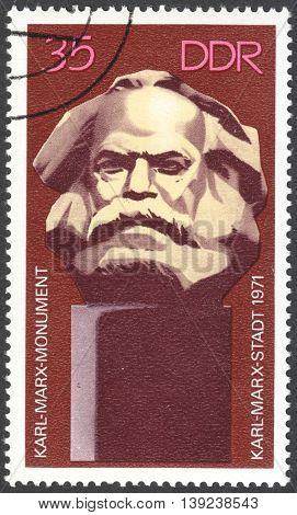MOSCOW RUSSIA - CIRCA JANUARY 2016: a post stamp printed in DDR shows Karl Marx Monument circa 1971