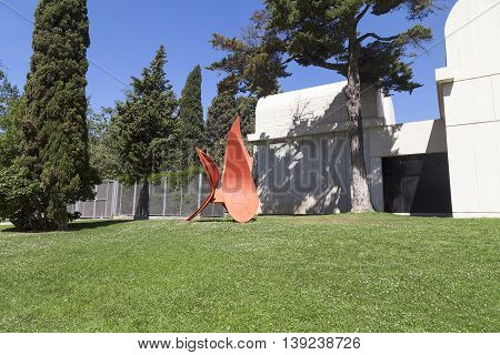 BARCELONA SPAIN - MAY 12 2016 : Sculpture 4 Wings by Alexander Calder before entering to Joan Miro Foundation .Centre of Studies of Contemporary Art is a museum of modern art located on the hill Montjuïc .It was founded in 1968.