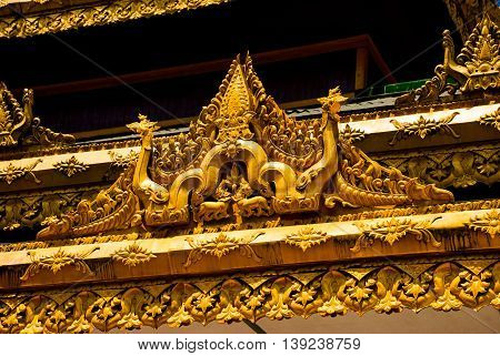A Fragment Of Decoration Of Gold. Shwedagon Paya Pagoda. Yangon, Myanmar