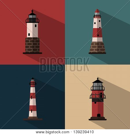 Several types of lighthouses on colored backgrounds