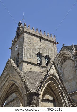 Tower of Church of Our Lady of Oliveira in Oliveira Square Guimaraes Portugal.