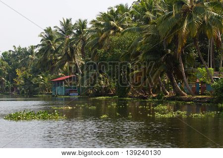 Allepey, Kerala, India, March 31, 2015: Bus stops in the Alappuzha city