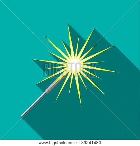 Sparkler icon in flat style with long shadow. Holiday symbol