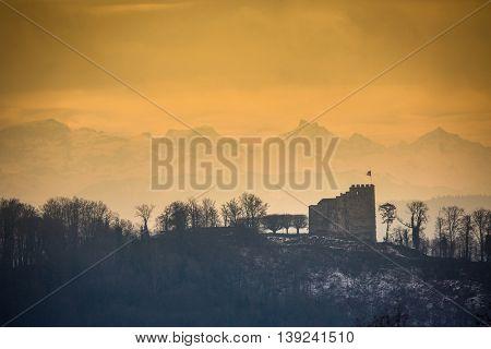 Habsburg Castle located in the Aargau, Switzerland