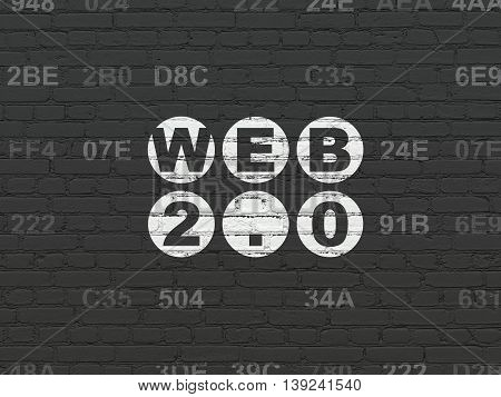 Web design concept: Painted white text Web 2.0 on Black Brick wall background with Hexadecimal Code