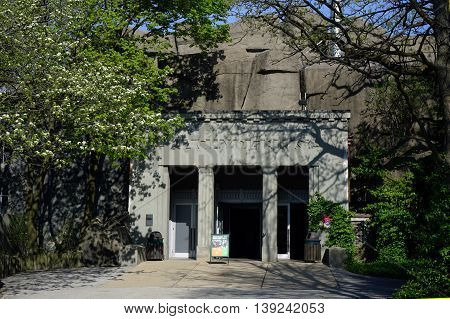 BROOKFIELD, ILLINOIS / UNITED STATES - APRIL 23, 2016: The entrance to the Brookfield Zoo's historic Pachyderm Building, which houses rhinoceroses, hippopotamuses, and tapirs.