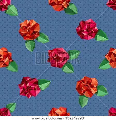 Seamless pattern with flowers imitating crumpled paper. Polygon style