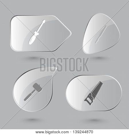 4 images: screwdriver, ruling pen, mallet, saw. Angularly set. Glass buttons on gray background. Vector icons.
