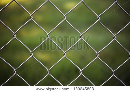 a nice chain link fence in front of green grass in a park or yard on a summer day with a vignette around the border good for background use