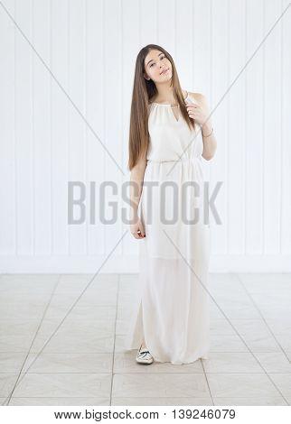 Beautiful cute fresh happy smiling teen girl portrait indoors