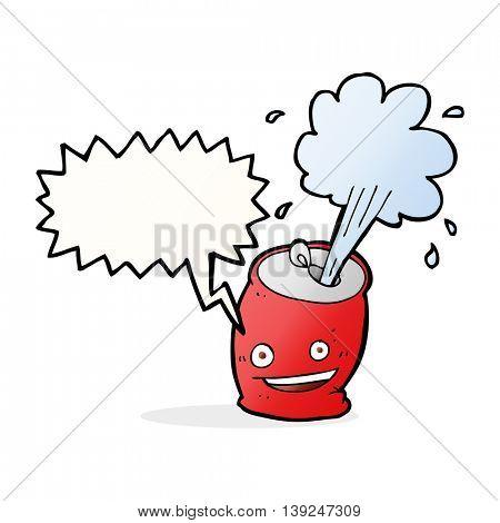 cartoon fizzing soda can with speech bubble