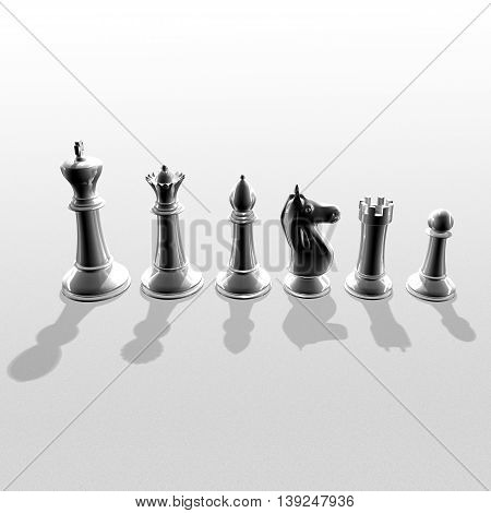 3D Black Chessmans Standing Side By Side