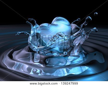 3D Bluewater Made Heart Sinking Into Dark Water