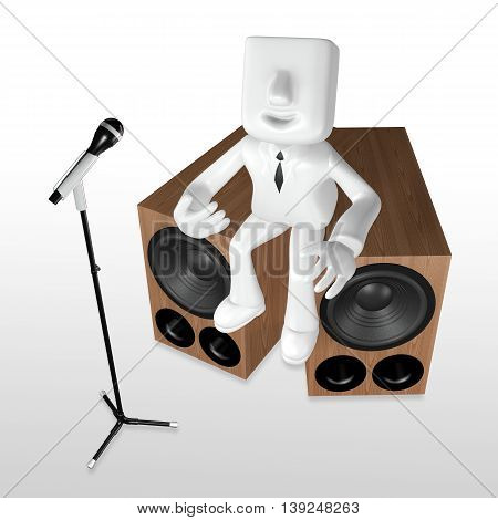 3D Business Man Playing The Guitar On The Woofer With Mike