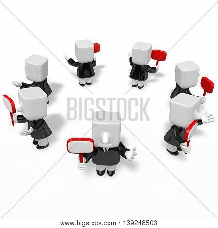 3D Business Men Speaking For Guide With Arrow Sign