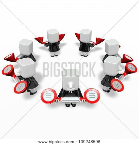 3D Business Men Standing In A Circle With Their Phone