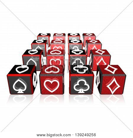 3D Color Cubes Array With Playing Card Suits