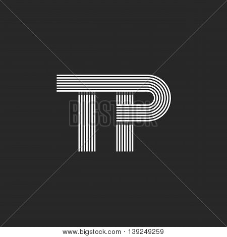 Initials Tp Logo Hipster Wedding Invitation Emblem Mockup, Combination Two Letters T P Pair