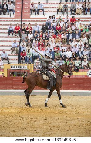 Jaen SPAIN - October 13 2008: Alvaro Montes bullfighter on horseback spanish witch garrocha (blunt lance used on ranches) Jaen Spain