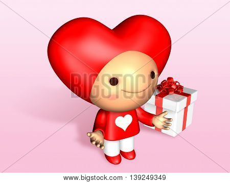 3D Cute Doll Hand Up With Gift Box