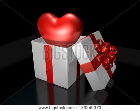 3D Cute Heart Popping Up In The Decorated White Gift Bax