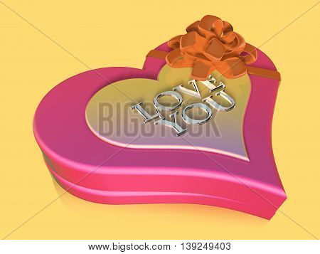 3D Decorated And Lettered Pink Jewel Box As Anniversary Gift