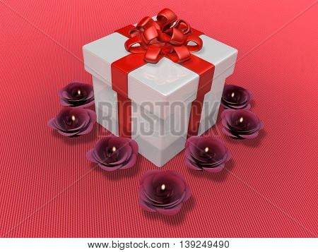 3D Decorated White Present And Flower Candle Propose Event