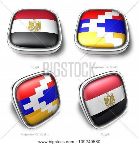 3D Egypt And Nagormo Karabkh Flag Button