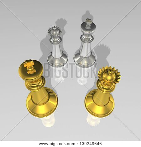 3D Gold And Silver Chessmans As King And Queen