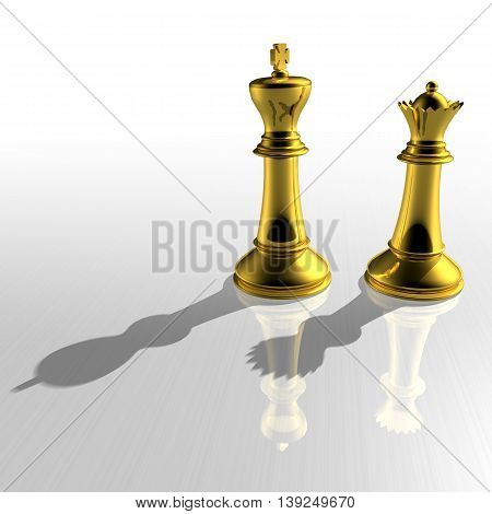 3D Gold Chessmans As King And Queen