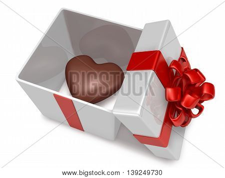 3D Heart Chocolate Into Present Box On White Background
