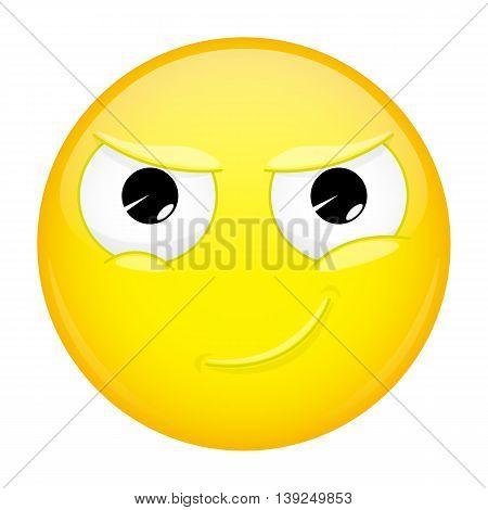 Smiling emoji. Smirk emotion. Cunning emoticon. Vector illustration smile icon.