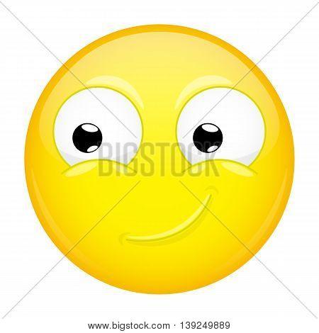 Smiling emoji. Smirk emotion. Happy emoticon. Vector illustration smile icon.