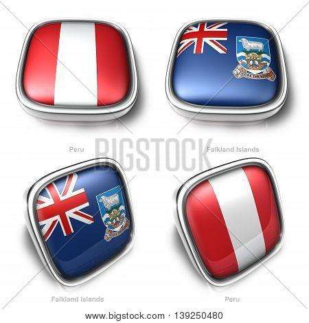 3D Peru And Falkl Islands Flag Button