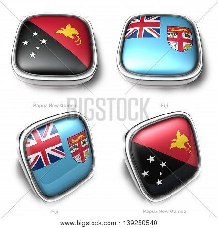 3D Papua New Guinea And Fiji Flag Button
