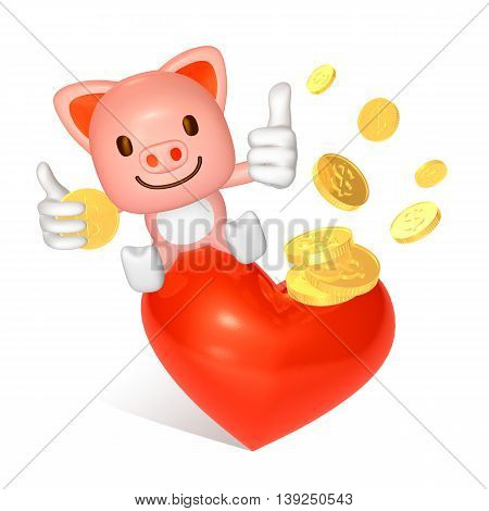 3D Pink Pig Sitting Red Big Heart With Gold Coin