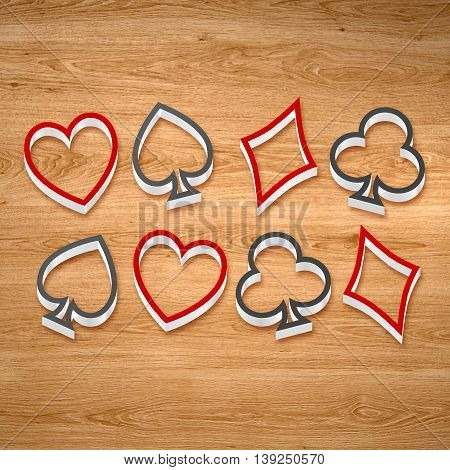 3D Playing Card Suits Line Art On The Wooden Background