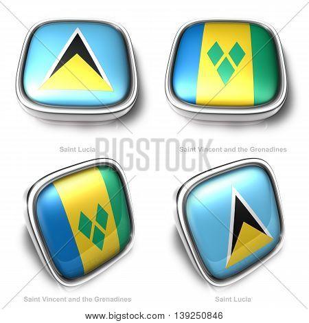 3D Saint Lucia And Vincent Grenadines Flag Button