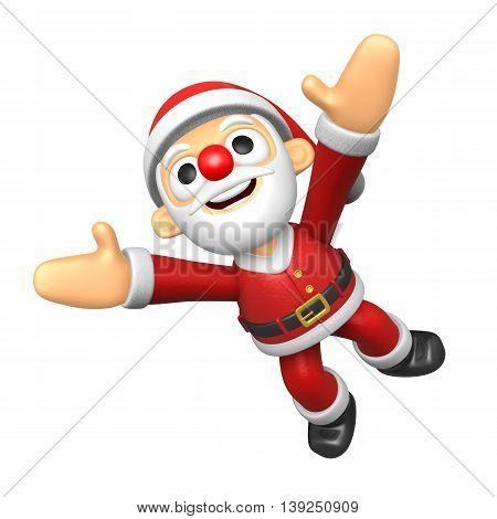 3D Santa Character Jumping. 3D Christmas Character Design Series.