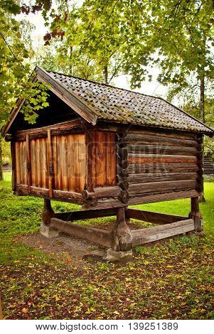 Traditional Norwegian House with grass roof. The Norwegian Museum of Cultural History Oslo.