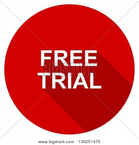 free trial red vector icon, circle flat design internet button, web and mobile app illustration