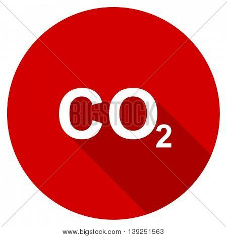 carbon dioxide red vector icon, circle flat design internet button, web and mobile app illustration