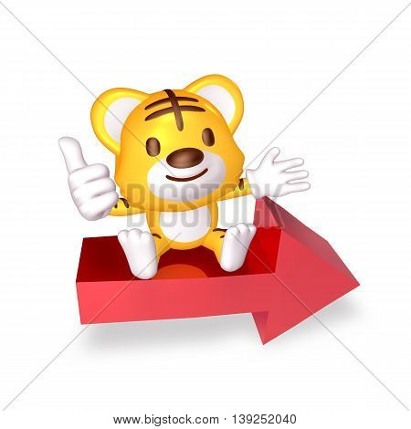3D Yellow Cute Tiger Sitting On The Red Arrow