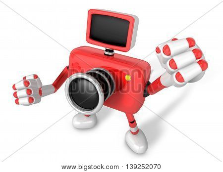 A Red Camera Character And A Boxing Play. Create 3D Camera Robot Series.