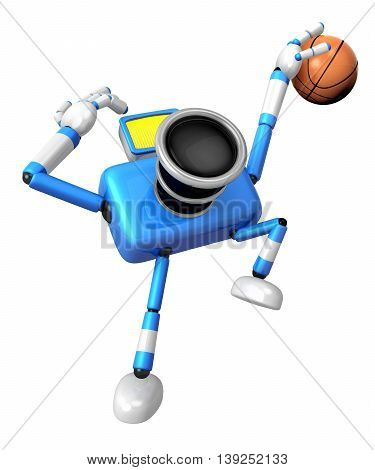 Blue Camera Basketball Player Vigorously Jumping. Create 3D Camera Robot Series.