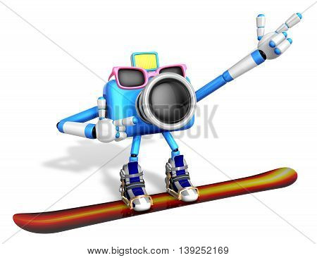 Blue Camera Character Snowboard A Riding. Create 3D Camera Robot Series.